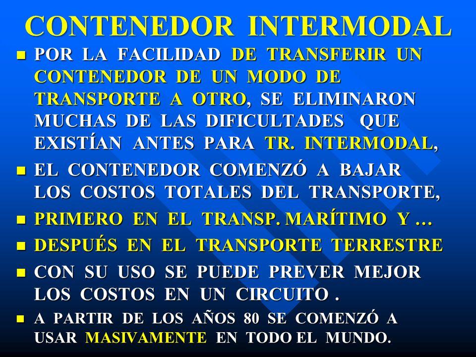 CONTENEDOR INTERMODAL POR LA FACILIDAD DE TRANSFERIR UN CONTENEDOR DE UN MODO DE TRANSPORTE A OTRO, SE ELIMINARON MUCHAS DE LAS DIFICULTADES QUE EXIST