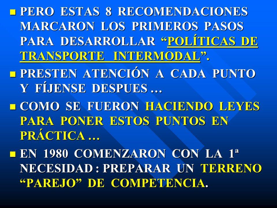 PERO ESTAS 8 RECOMENDACIONES MARCARON LOS PRIMEROS PASOS PARA DESARROLLAR POLÍTICAS DE TRANSPORTE INTERMODAL. PERO ESTAS 8 RECOMENDACIONES MARCARON LO