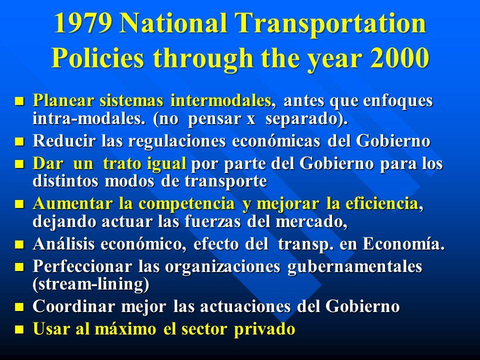 1979 National Transportation Policies through the year 2000 Planear sistemas intermodales, antes que enfoques intra-modales. (no pensar x separado). P