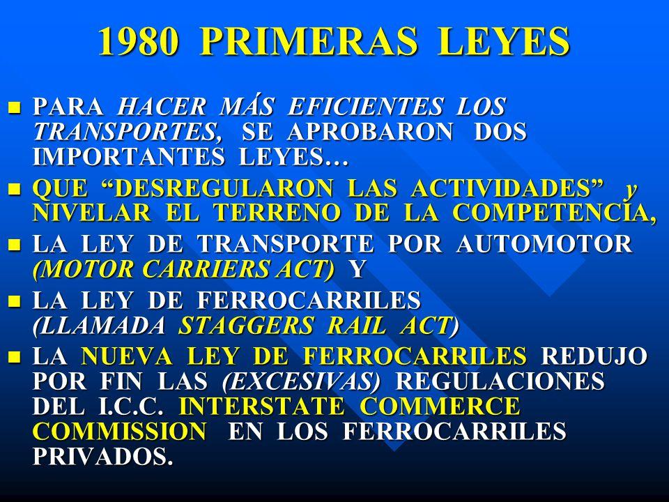 1980 PRIMERAS LEYES PARA HACER MÁS EFICIENTES LOS TRANSPORTES, SE APROBARON DOS IMPORTANTES LEYES… PARA HACER MÁS EFICIENTES LOS TRANSPORTES, SE APROB