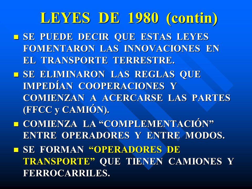 LEYES DE 1980 (contin) SE PUEDE DECIR QUE ESTAS LEYES FOMENTARON LAS INNOVACIONES EN EL TRANSPORTE TERRESTRE. SE PUEDE DECIR QUE ESTAS LEYES FOMENTARO