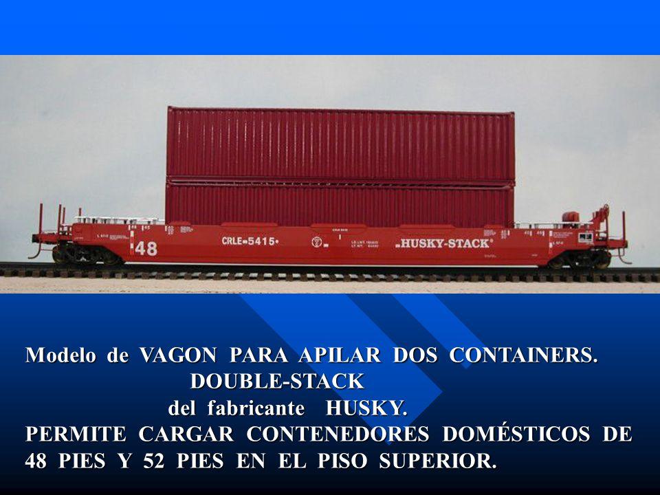 Modelo de VAGON PARA APILAR DOS CONTAINERS. DOUBLE-STACK DOUBLE-STACK del fabricante HUSKY. del fabricante HUSKY. PERMITE CARGAR CONTENEDORES DOMÉSTIC