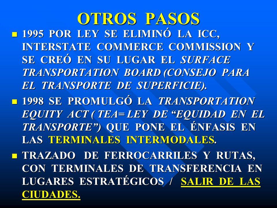 OTROS PASOS 1995 POR LEY SE ELIMINÓ LA ICC, INTERSTATE COMMERCE COMMISSION Y SE CREÓ EN SU LUGAR EL SURFACE TRANSPORTATION BOARD (CONSEJO PARA EL TRAN