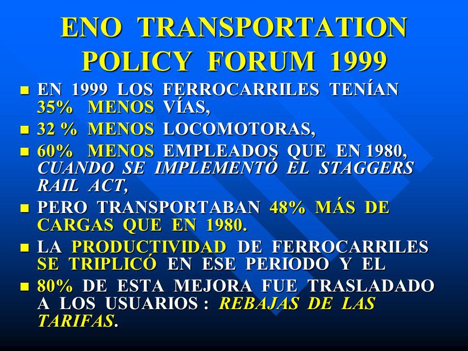 ENO TRANSPORTATION POLICY FORUM 1999 EN 1999 LOS FERROCARRILES TENÍAN 35% MENOS VÍAS, EN 1999 LOS FERROCARRILES TENÍAN 35% MENOS VÍAS, 32 % MENOS LOCO
