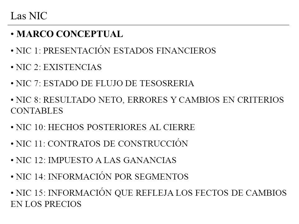 Las NIC MARCO CONCEPTUAL NIC 1: PRESENTACIÓN ESTADOS FINANCIEROS NIC 2: EXISTENCIAS NIC 7: ESTADO DE FLUJO DE TESOSRERIA NIC 8: RESULTADO NETO, ERRORES Y CAMBIOS EN CRITERIOS CONTABLES NIC 10: HECHOS POSTERIORES AL CIERRE NIC 11: CONTRATOS DE CONSTRUCCIÓN NIC 12: IMPUESTO A LAS GANANCIAS NIC 14: INFORMACIÓN POR SEGMENTOS NIC 15: INFORMACIÓN QUE REFLEJA LOS FECTOS DE CAMBIOS EN LOS PRECIOS