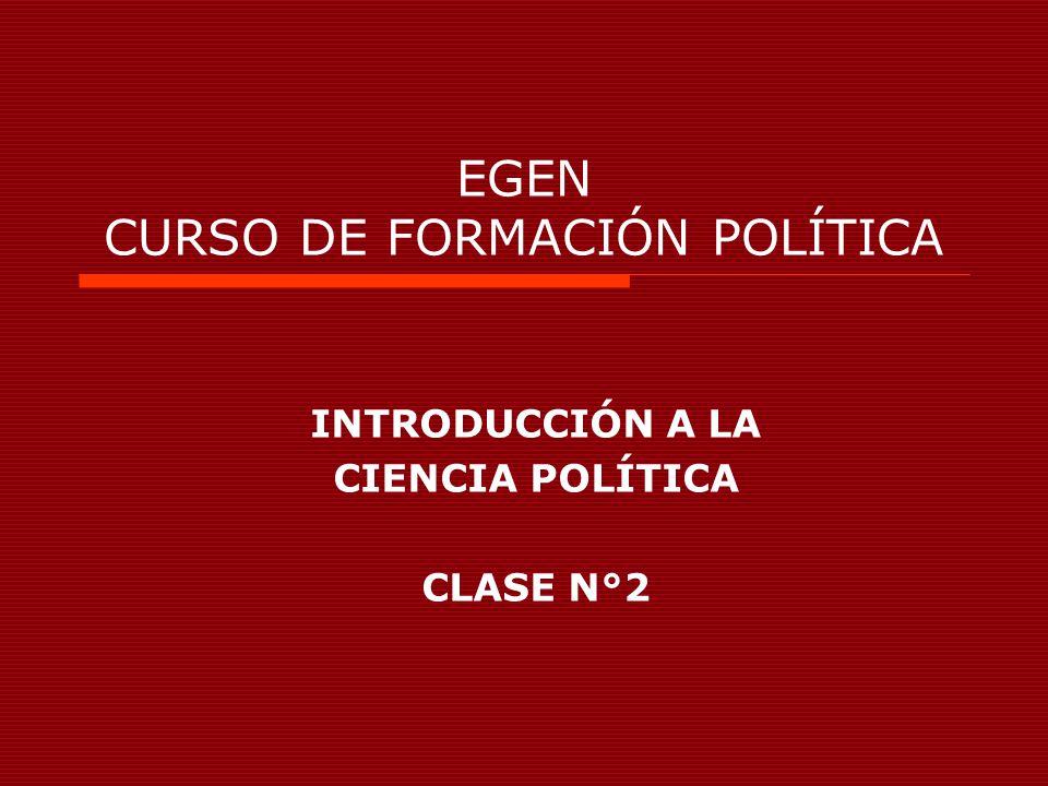 EGEN CURSO DE FORMACIÓN POLÍTICA INTRODUCCIÓN A LA CIENCIA POLÍTICA CLASE N°2
