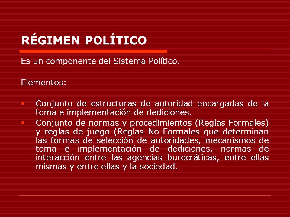 RÉGIMEN POLÍTICO Es un componente del Sistema Político. Elementos: Conjunto de estructuras de autoridad encargadas de la toma e implementación de dedi