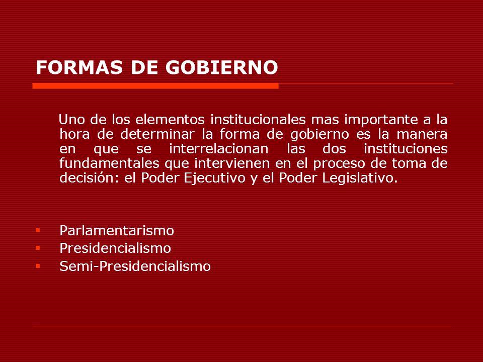 FORMAS DE GOBIERNO Uno de los elementos institucionales mas importante a la hora de determinar la forma de gobierno es la manera en que se interrelaci