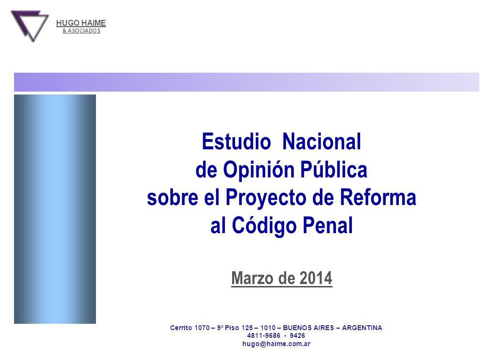 PROYECTO DE REFORMA AL CODIGO PENAL Hugo Haime & Asociados Estudio Nacional - IVR - 6 y 7 de marzo de 2014 - 700 casos 1 Estudio Nacional de Opinión P