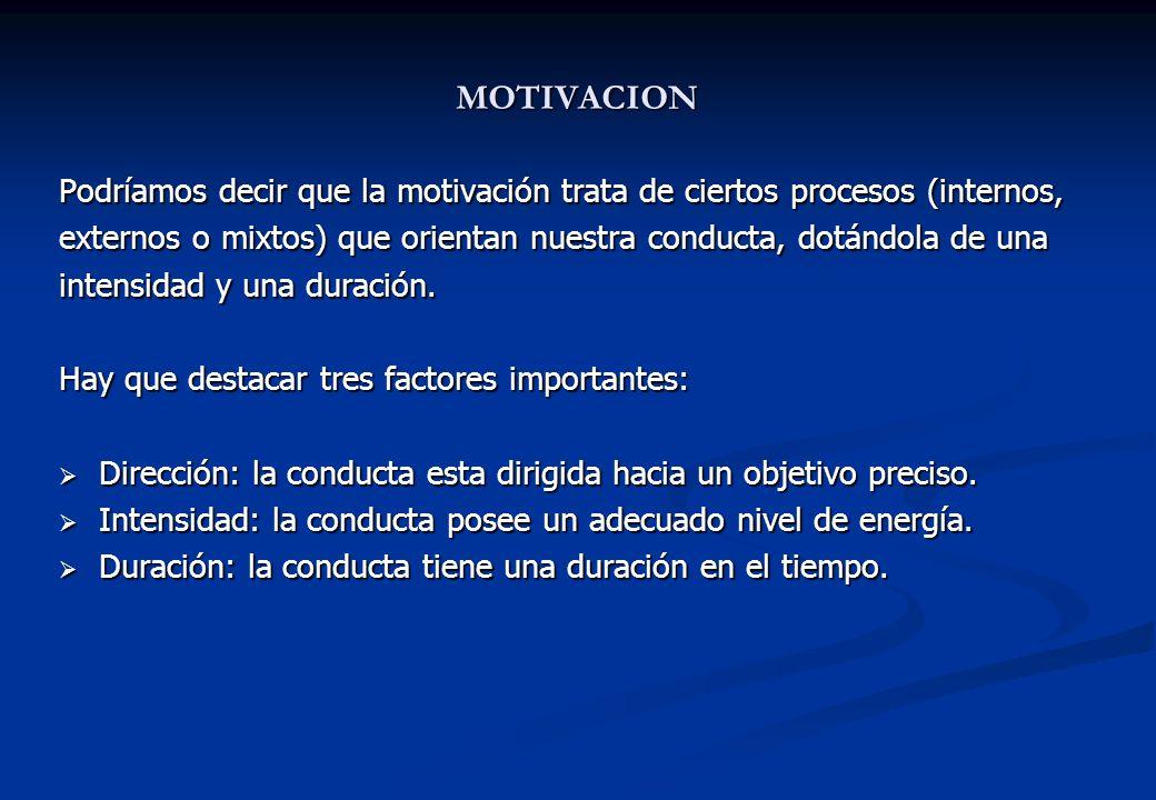 MOTIVACION Podríamos decir que la motivación trata de ciertos procesos (internos, externos o mixtos) que orientan nuestra conducta, dotándola de una i