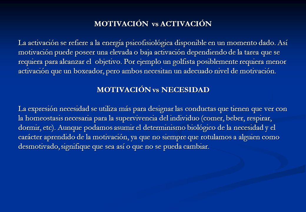 MOTIVACIÓN vs ACTIVACIÓN La activación se refiere a la energía psicofisiológica disponible en un momento dado. Así motivación puede poseer una elevada