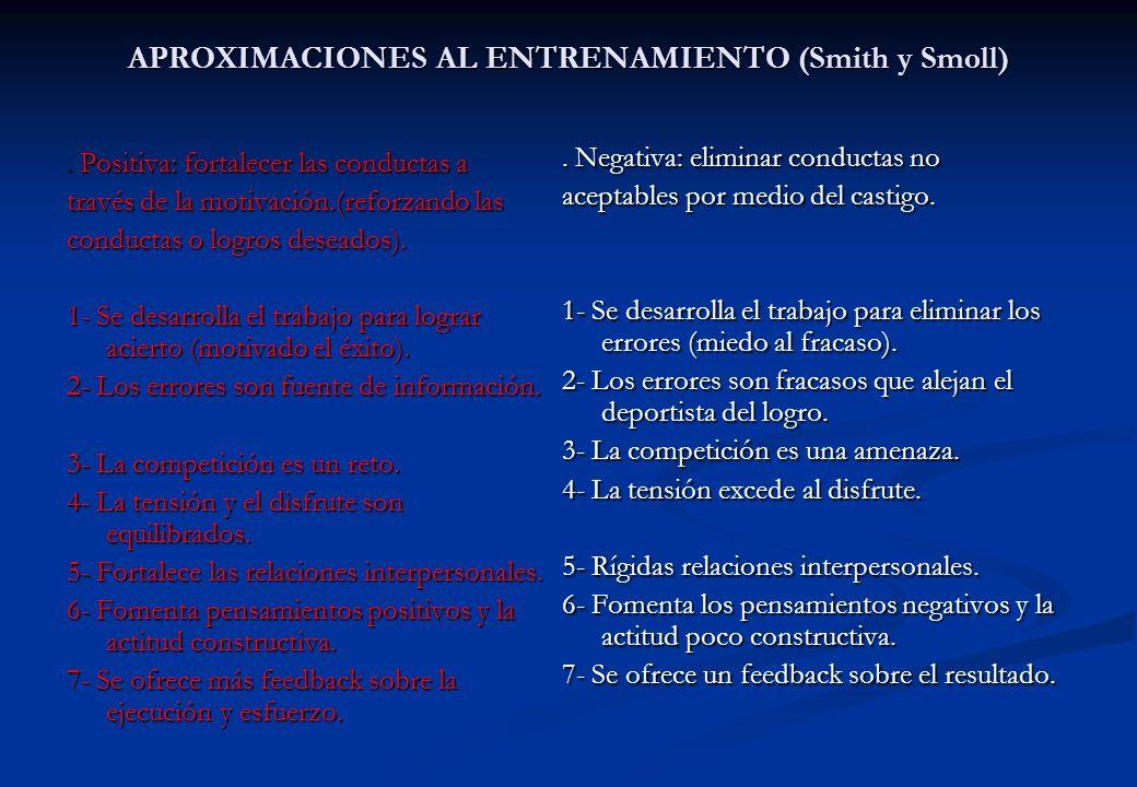 APROXIMACIONES AL ENTRENAMIENTO (Smith y Smoll). Positiva: fortalecer las conductas a través de la motivación.(reforzando las conductas o logros desea