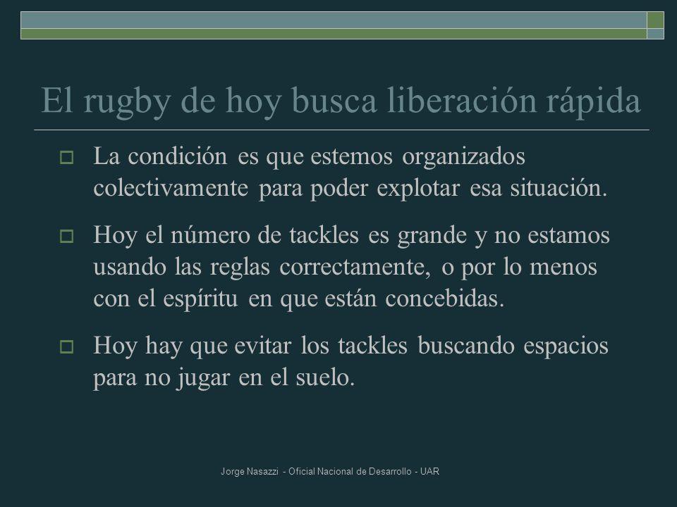 Jorge Nasazzi - Oficial Nacional de Desarrollo - UAR El rugby de hoy busca liberación rápida La condición es que estemos organizados colectivamente pa