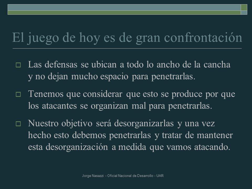 Jorge Nasazzi - Oficial Nacional de Desarrollo - UAR El juego de hoy es de gran confrontación Las defensas se ubican a todo lo ancho de la cancha y no