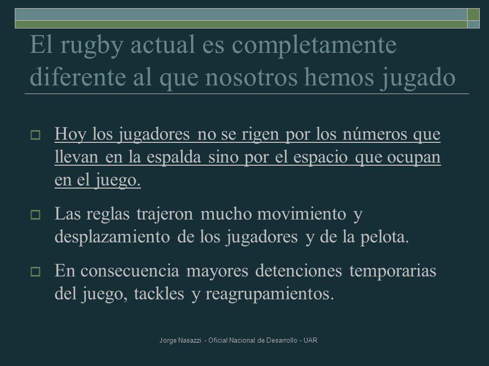 Jorge Nasazzi - Oficial Nacional de Desarrollo - UAR El Rugby actual es: Movimientos más puntos de fijación Las fases de movimiento son cada vez más importantes y ocupan la mayor parte del tiempo en el juego.