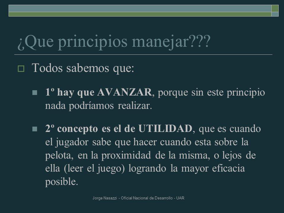 Jorge Nasazzi - Oficial Nacional de Desarrollo - UAR ¿Que principios manejar??? Todos sabemos que: 1º hay que AVANZAR, porque sin este principio nada