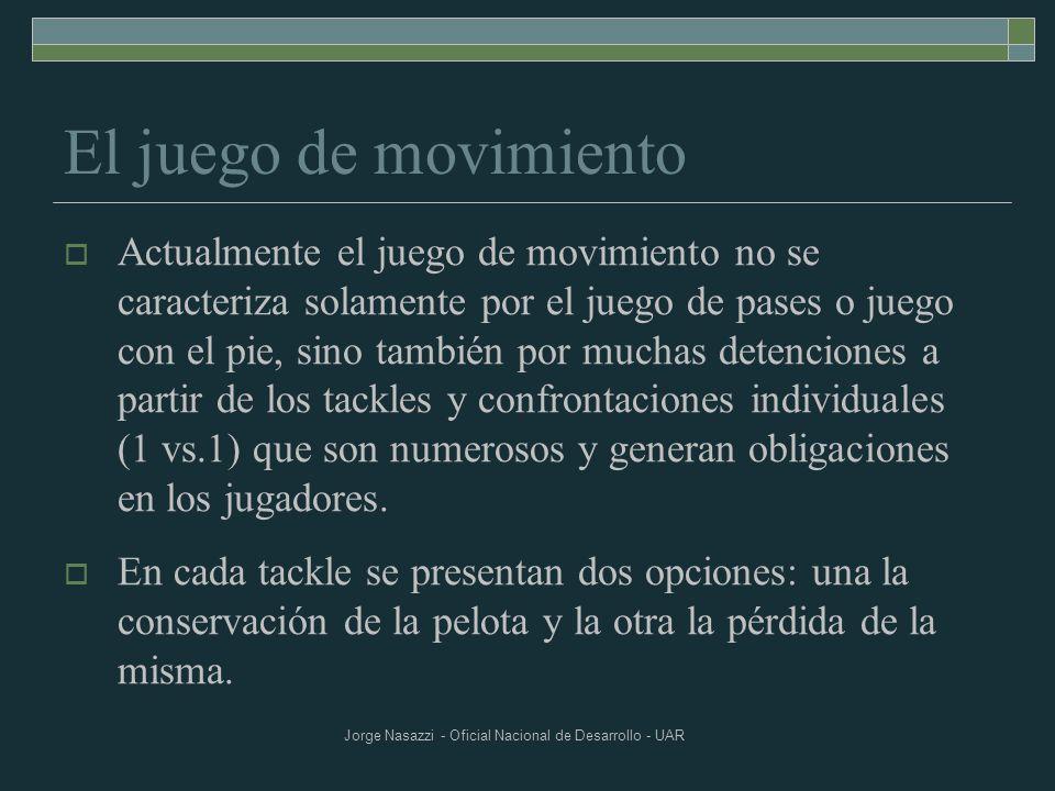 Jorge Nasazzi - Oficial Nacional de Desarrollo - UAR El juego de movimiento Actualmente el juego de movimiento no se caracteriza solamente por el jueg