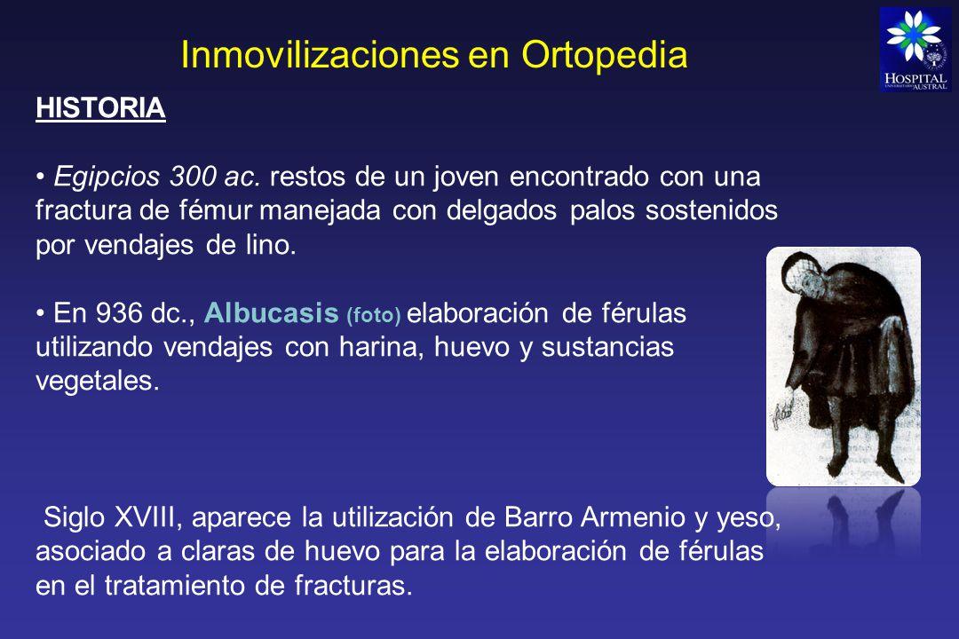 Inmovilizaciones en Ortopedia Eaton en 1798 popularizó en Europa la utilización del yeso de París el cual era vertido alrededor de la extremidad afectada dejándolo endurecer, previa reducción de la fractura.