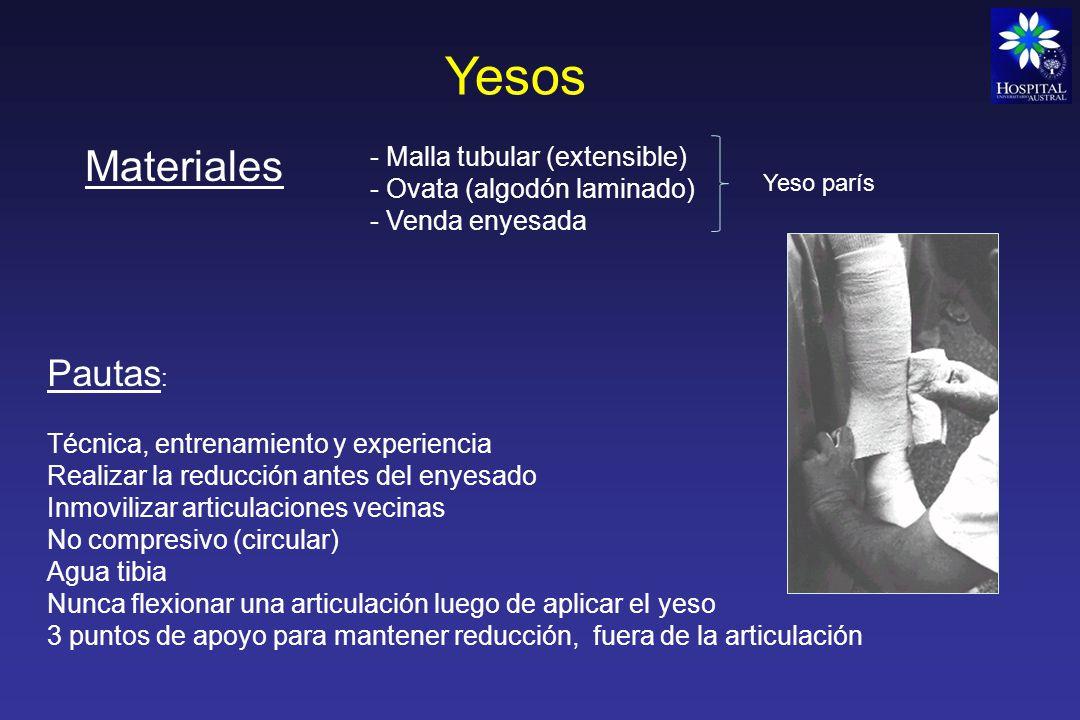 Tipos de yesos Antebraquipalmar Braquipalmar Vendajes de hombro que se refuerzan con yeso: Velpeau - Dessault