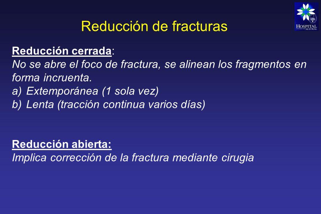 Reducción de fracturas Una vez reducida la fractura, la estabilización puede ser mediante: a)Yeso b)Fijación externa (tutores) c)Fijación interna (osteosíntesis) Con reducción cerrada del foco Fx (EEM distal o proximal) Con reducción abierta del foco de Fx