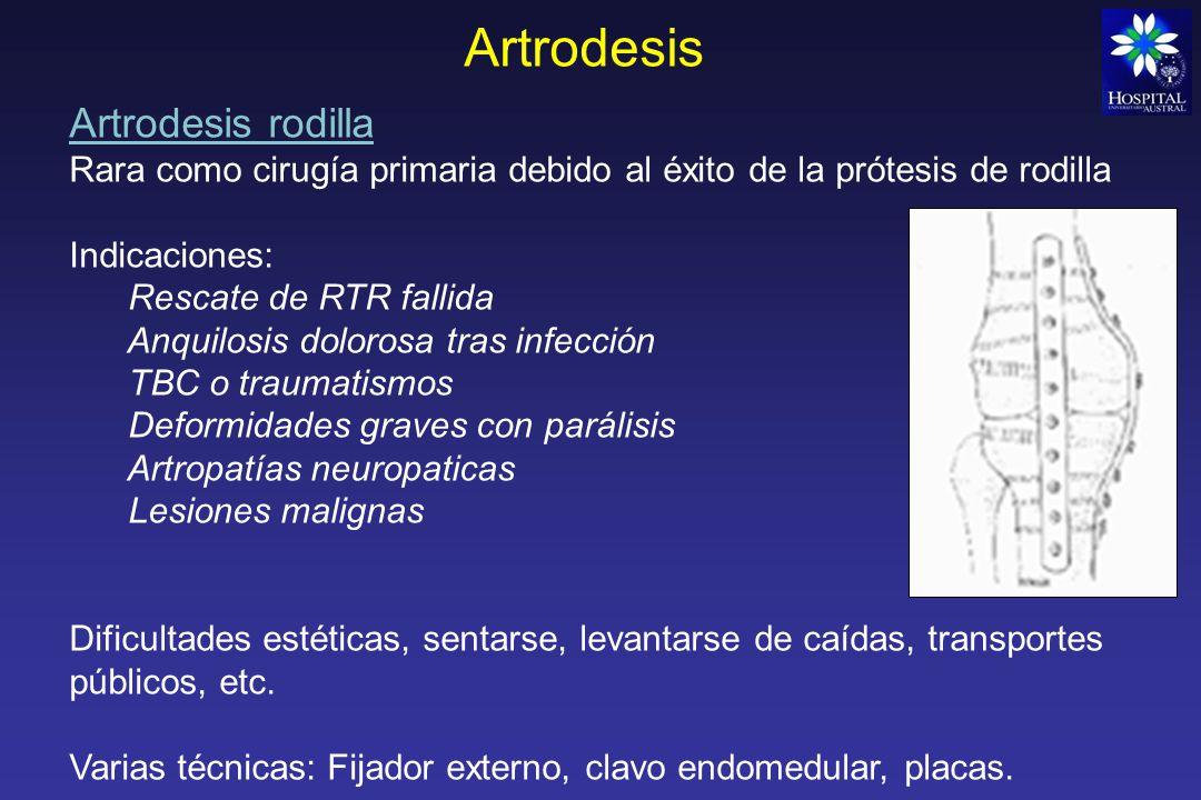 Artrodesis Artrodesis cadera Gran éxito de las prótesis de cadera en los últimos 30 años, por eso se considera una técnica de rescate Contraindicada en casos de infección activa (12 meses) Afecta y deteriora columna lumbar, cadera contra lateral y rodilla ipsilateral (pactes en buen estado previo) Fijarla en 30° flexión, 0-5° aducción y 10-15° rotación externa Varias técnicas
