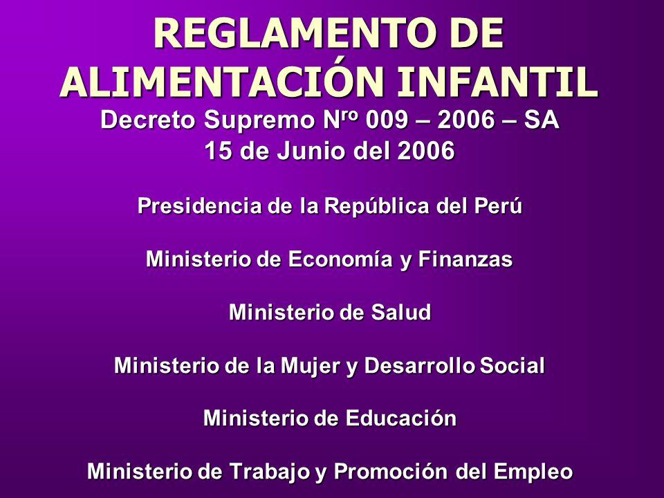 Decreto Supremo N ro 009 – 2006 – SA 15 de Junio del 2006 Presidencia de la República del Perú Ministerio de Economía y Finanzas Ministerio de Salud M