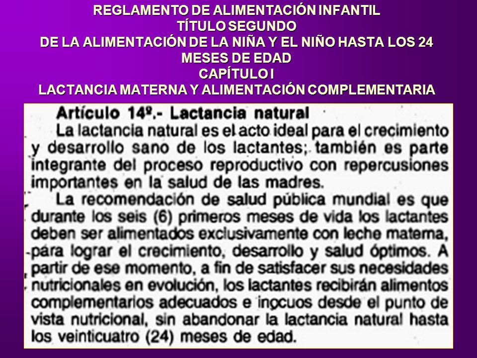 REGLAMENTO DE ALIMENTACIÓN INFANTIL TÍTULO SEGUNDO DE LA ALIMENTACIÓN DE LA NIÑA Y EL NIÑO HASTA LOS 24 MESES DE EDAD CAPÍTULO I LACTANCIA MATERNA Y A