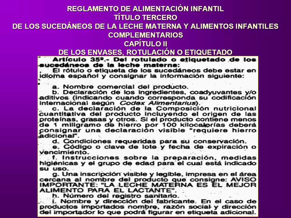 REGLAMENTO DE ALIMENTACIÓN INFANTIL TÍTULO TERCERO DE LOS SUCEDÁNEOS DE LA LECHE MATERNA Y ALIMENTOS INFANTILES COMPLEMENTARIOS CAPÍTULO II DE LOS ENV