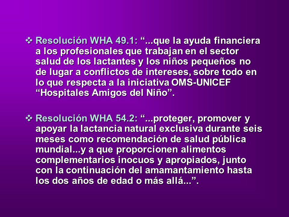 Resolución WHA 49.1:...que la ayuda financiera a los profesionales que trabajan en el sector salud de los lactantes y los niños pequeños no de lugar a