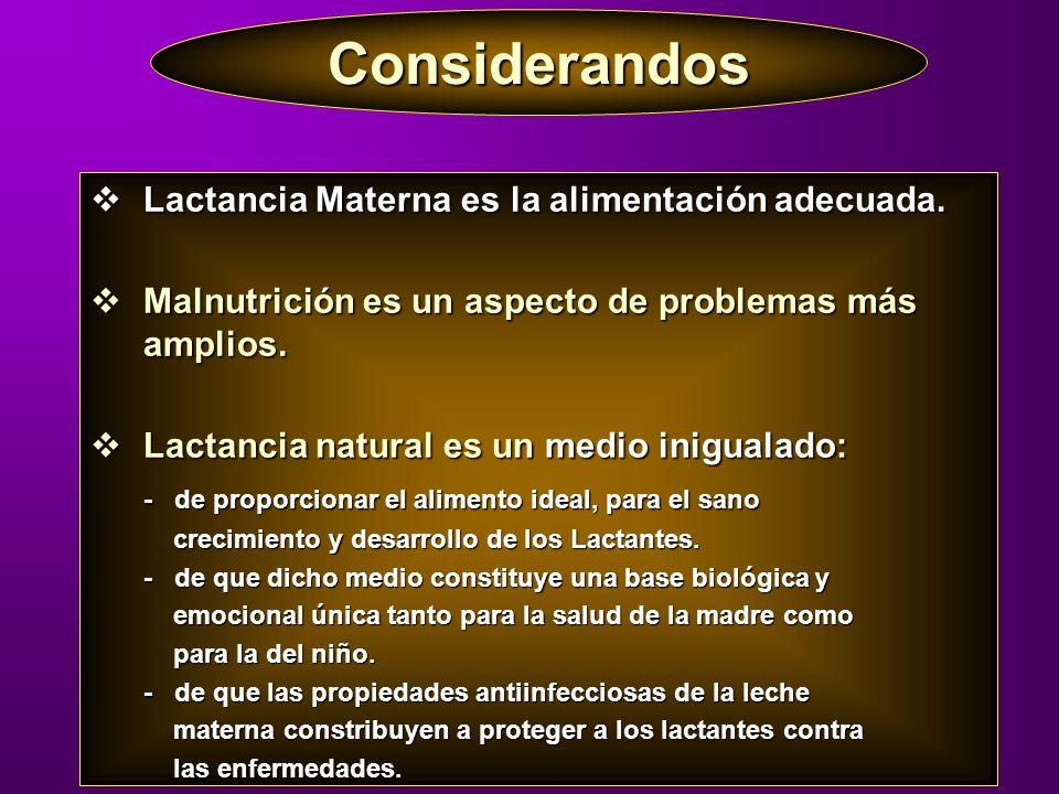 Lactancia Materna es la alimentación adecuada. Lactancia Materna es la alimentación adecuada. Malnutrición es un aspecto de problemas más amplios. Mal