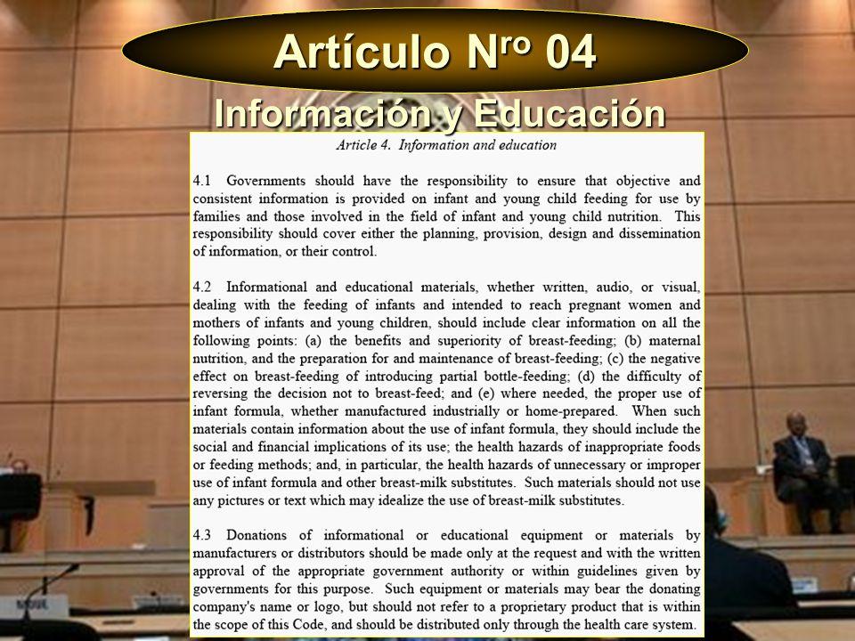 Artículo N ro 04 Gobiernos deben garantizar una información objetiva y coherente.