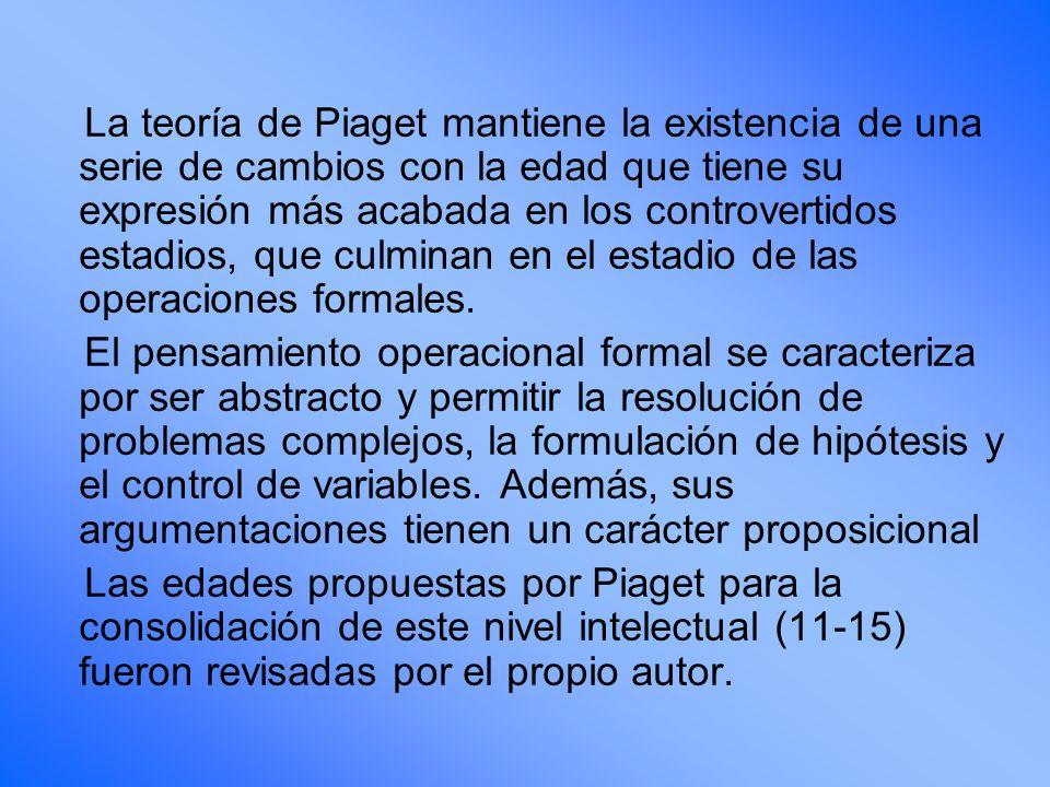 La teoría de Piaget mantiene la existencia de una serie de cambios con la edad que tiene su expresión más acabada en los controvertidos estadios, que