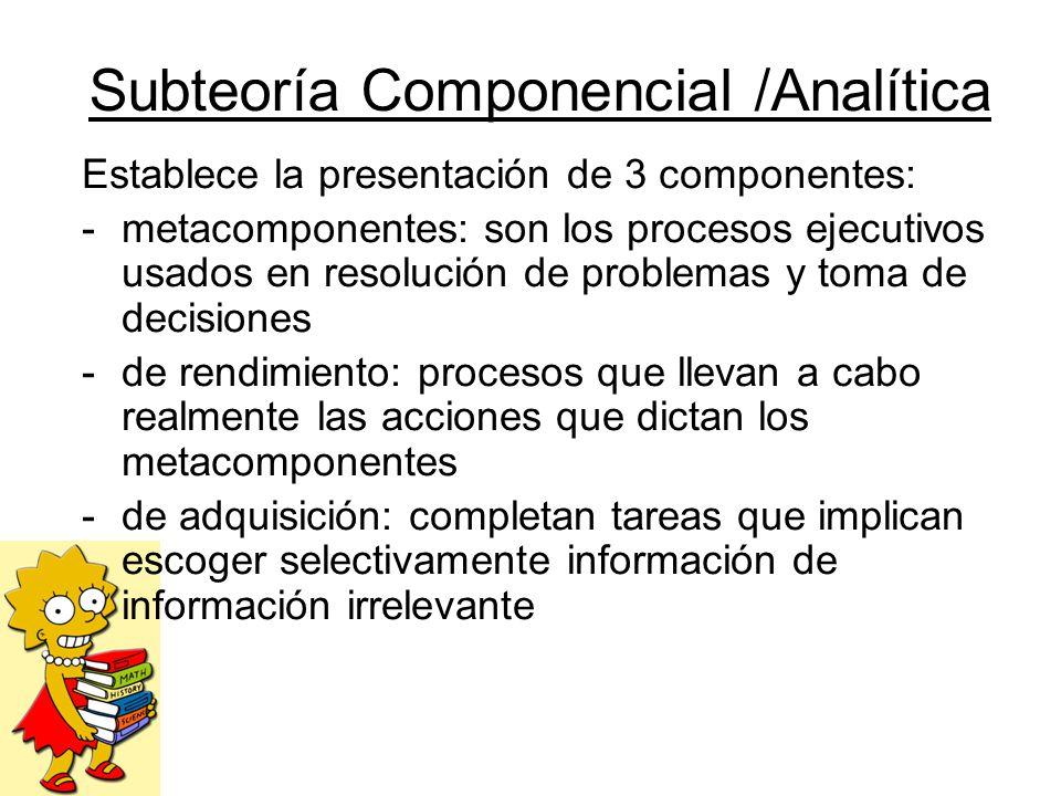 Subteoría Componencial /Analítica Establece la presentación de 3 componentes: -metacomponentes: son los procesos ejecutivos usados en resolución de pr
