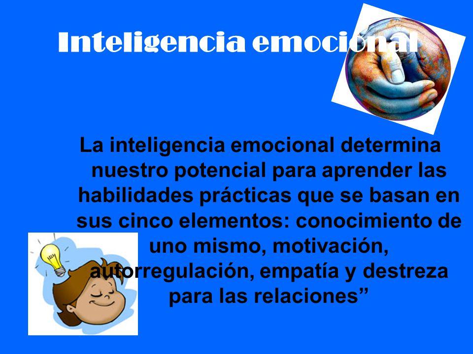 Inteligencia emocional La inteligencia emocional determina nuestro potencial para aprender las habilidades prácticas que se basan en sus cinco element