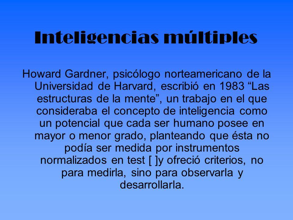 Howard Gardner, psicólogo norteamericano de la Universidad de Harvard, escribió en 1983 Las estructuras de la mente, un trabajo en el que consideraba
