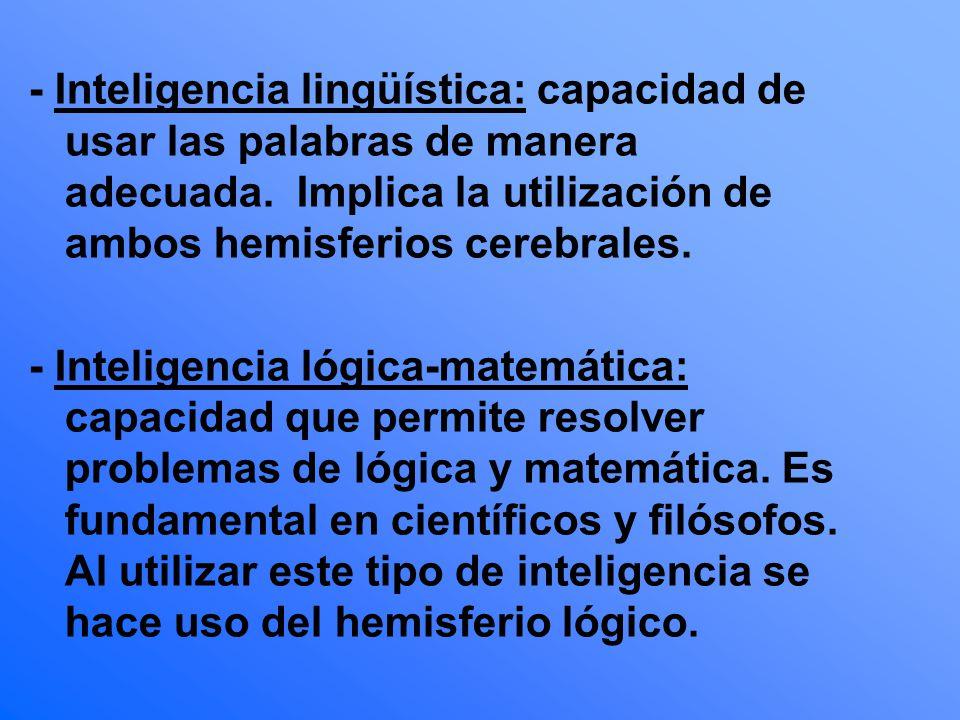 - Inteligencia lingüística: capacidad de usar las palabras de manera adecuada. Implica la utilización de ambos hemisferios cerebrales. - Inteligencia