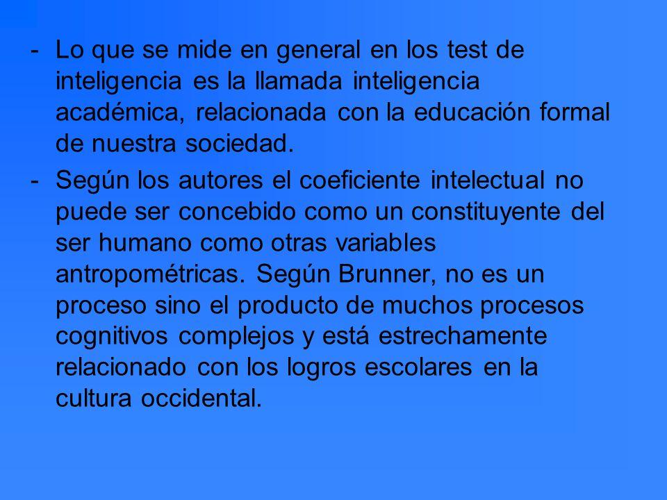 -Lo que se mide en general en los test de inteligencia es la llamada inteligencia académica, relacionada con la educación formal de nuestra sociedad.