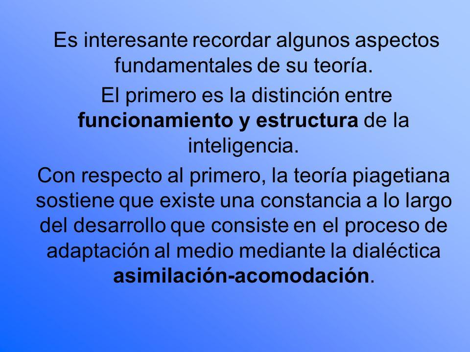 Es interesante recordar algunos aspectos fundamentales de su teoría. El primero es la distinción entre funcionamiento y estructura de la inteligencia.
