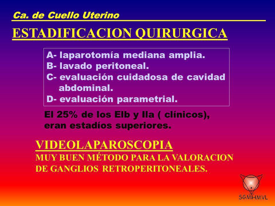 Ca. de Cuello Uterino ESTADIFICACION QUIRURGICA A- laparotomía mediana amplia. B- lavado peritoneal. C- evaluación cuidadosa de cavidad abdominal. D-