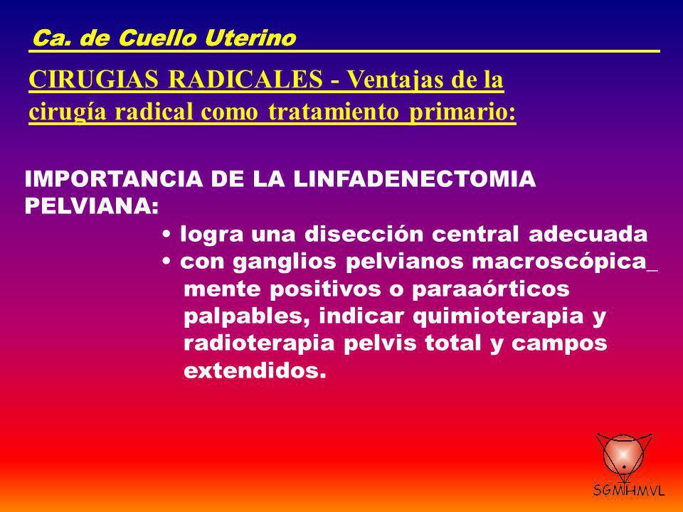 Ca. de Cuello Uterino CIRUGIAS RADICALES - Ventajas de la cirugía radical como tratamiento primario: IMPORTANCIA DE LA LINFADENECTOMIA PELVIANA: logra