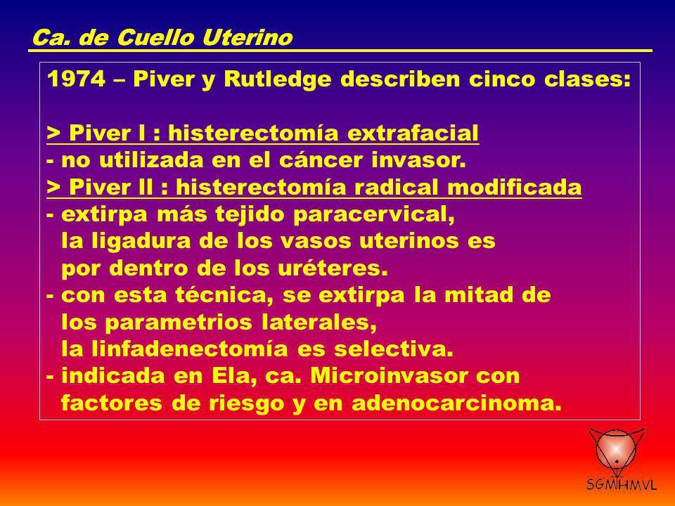 Ca. de Cuello Uterino 1974 – Piver y Rutledge describen cinco clases: > Piver l : histerectomía extrafacial - no utilizada en el cáncer invasor. > Piv