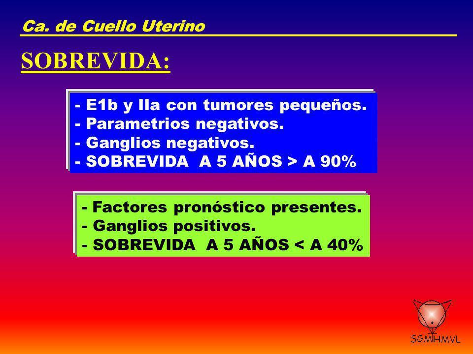 Ca. de Cuello Uterino SOBREVIDA: - E1b y IIa con tumores pequeños. - Parametrios negativos. - Ganglios negativos. - SOBREVIDA A 5 AÑOS > A 90% - Facto