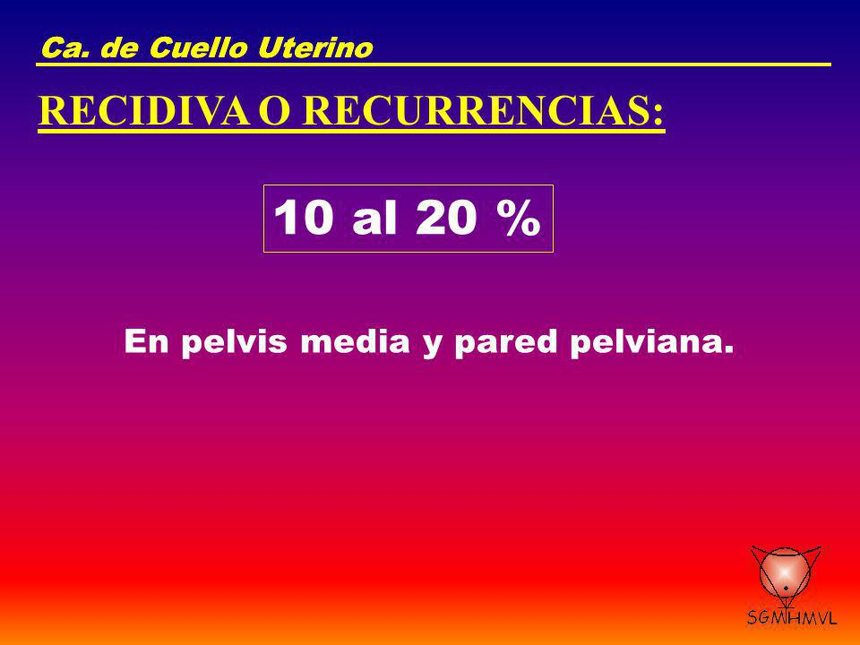 Ca. de Cuello Uterino RECIDIVA O RECURRENCIAS: 10 al 20 % En pelvis media y pared pelviana.