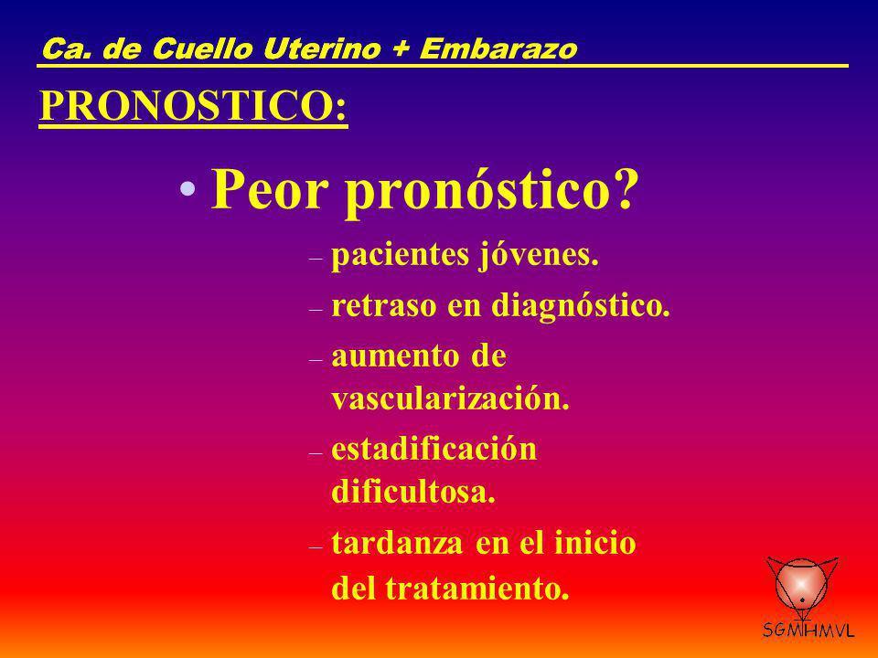 Ca. de Cuello UterinoCa. de Cuello Uterino + Embarazo PRONOSTICO: Peor pronóstico? – pacientes jóvenes. – retraso en diagnóstico. – aumento de vascula