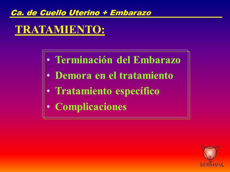 Ca. de Cuello UterinoCa. de Cuello Uterino + Embarazo TRATAMIENTO: Terminación del Embarazo Demora en el tratamiento Tratamiento específico Complicaci