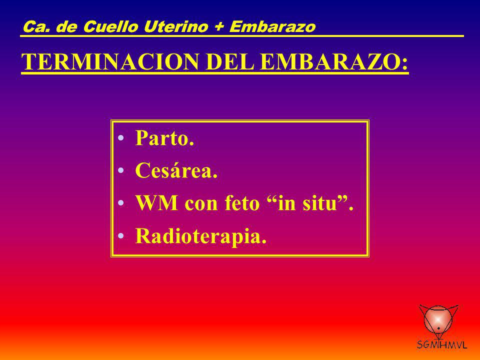 Ca. de Cuello UterinoCa. de Cuello Uterino + Embarazo TERMINACION DEL EMBARAZO: Parto. Cesárea. WM con feto in situ. Radioterapia.