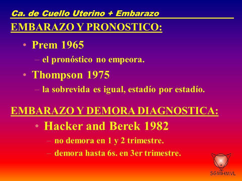 Ca. de Cuello UterinoCa. de Cuello Uterino + Embarazo EMBARAZO Y PRONOSTICO: Prem 1965 –el pronóstico no empeora. Thompson 1975 –la sobrevida es igual