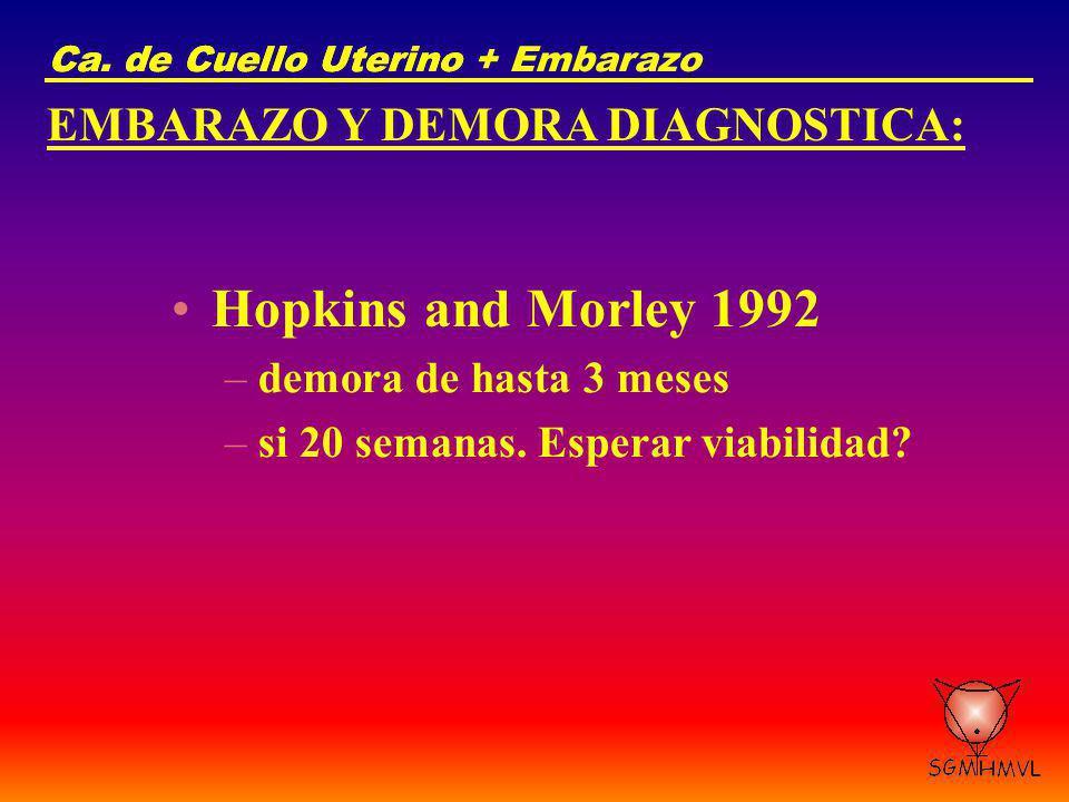 Ca. de Cuello UterinoCa. de Cuello Uterino + Embarazo EMBARAZO Y DEMORA DIAGNOSTICA: Hopkins and Morley 1992 –demora de hasta 3 meses –si 20 semanas.