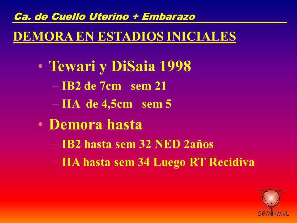 Ca. de Cuello UterinoCa. de Cuello Uterino + Embarazo DEMORA EN ESTADIOS INICIALES Tewari y DiSaia 1998 –IB2 de 7cm sem 21 –IIA de 4,5cm sem 5 Demora