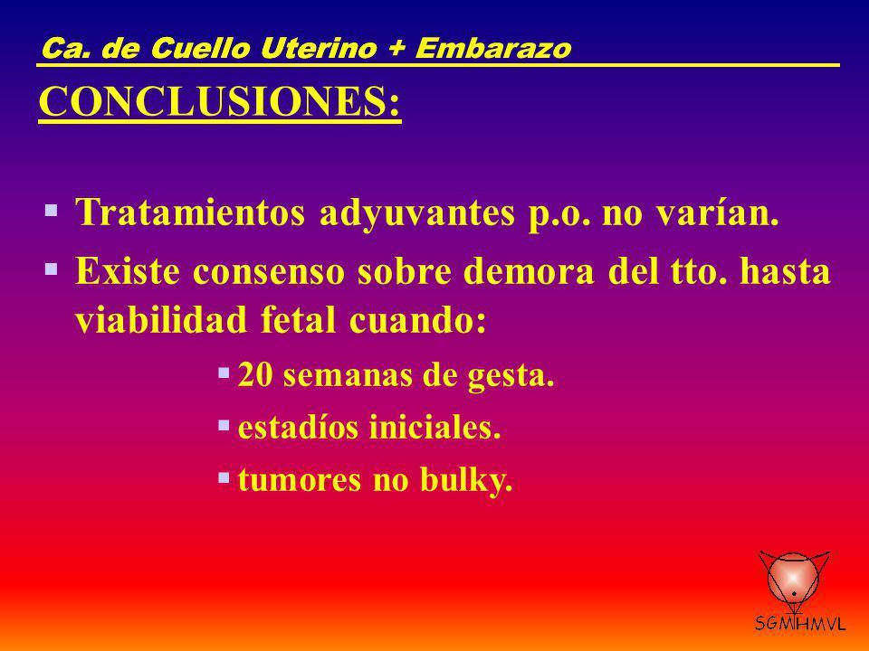 Ca. de Cuello UterinoCa. de Cuello Uterino + Embarazo CONCLUSIONES: Tratamientos adyuvantes p.o. no varían. Existe consenso sobre demora del tto. hast